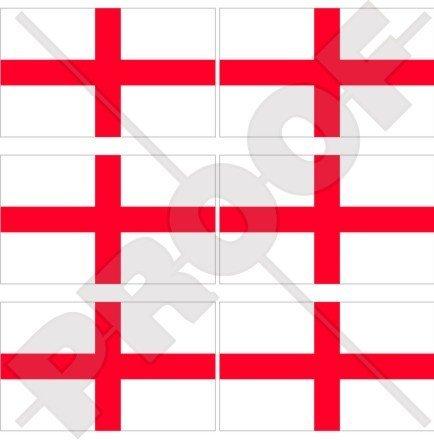 England englisch Flagge St George 's Cross Großbritannien UK 40mm (40,6cm) Mobile Handy Vinyl Mini Sticker, Aufkleber X6 (St George Flagge Aufkleber)