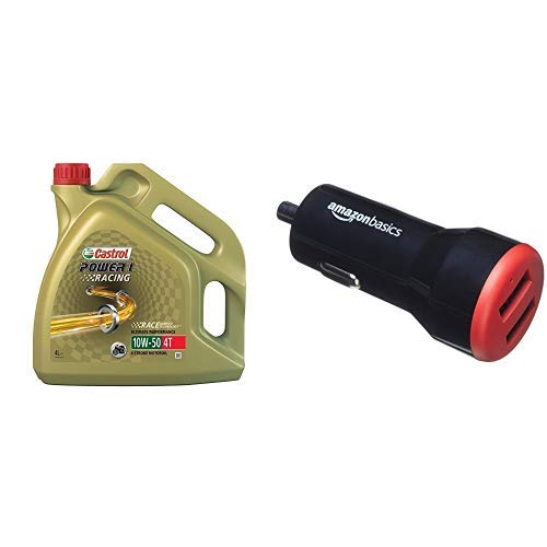 Castrol Power 1 Racing Motorenöl 10W-50 4T 4L (englischsprachige Etiketten) AmazonBasics - Kfz-Ladegerät für Apple- & Android-Geräte, USB-Anschluss: 2 Eingänge, 4,8 Ampere / 24 W, Schwarz / Rot -