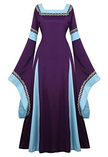 aizen Mittelalter Kleid mit Trompetenärmel Party Kostüm bodenlang Vintage Retro Renaissance Costume Cosplay Damen Lila XL (Prinzessin Mittelalterliche Kostüm Mädchen)