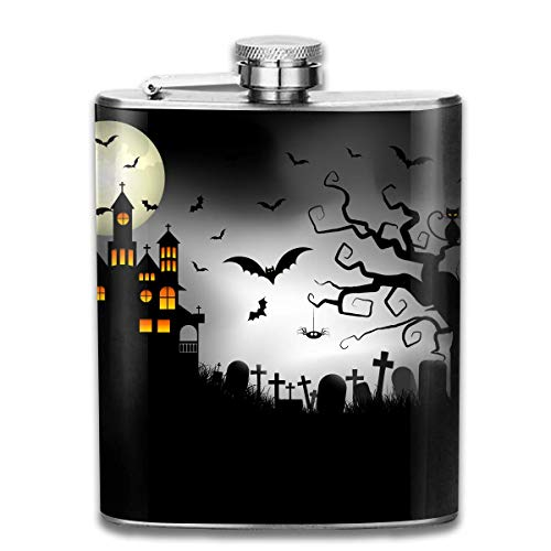 FGRYGF Edelstahlflasche Cartoon Spooky Halloween Fashion Portable Stainless Steel Flachmann Whiskey Bottle for Men and Women 7 Oz