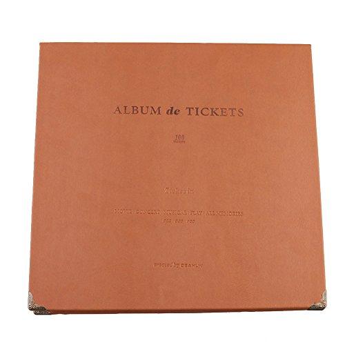 Ardermu Ticket Stub Organizer - 100 Bolsillos Leather Ticket Stub Album para Sports Movie Concert Colección Bill de Billetes de Banco