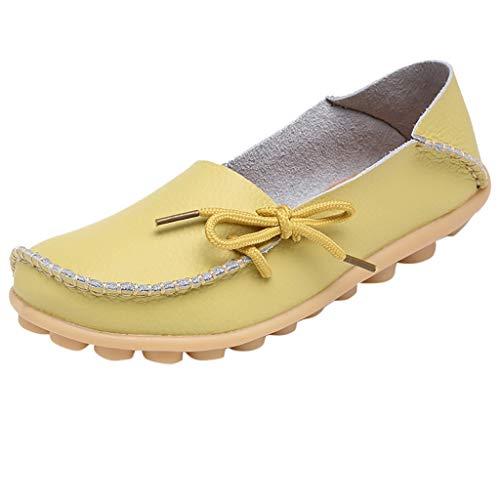 EUCoo_shoes Damen Mutter Flache Schuhe BeiläUfige Weiche Lederne Runde Volltonfarbe Fahrerschuhe Krankenschwester Schuhe(Gelb, 41) Frau Moc
