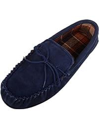 SNUGRUGS Homme Doublé en coton pantoufles Mocassin en Daim avec semelle en  caoutchouc 136384b849c4