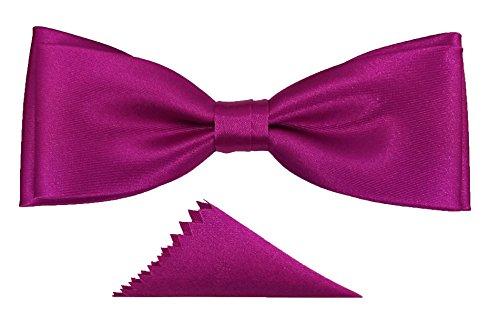 Edle elegante Fliege mit Einstecktuch Fliegen Herren unisex Schleife verstellbar mit Haken gebunden Hochzeit Konfirmation Taufe Kommunion Geburtstag Party (Hot Pink) (Hot Glanz Pink)