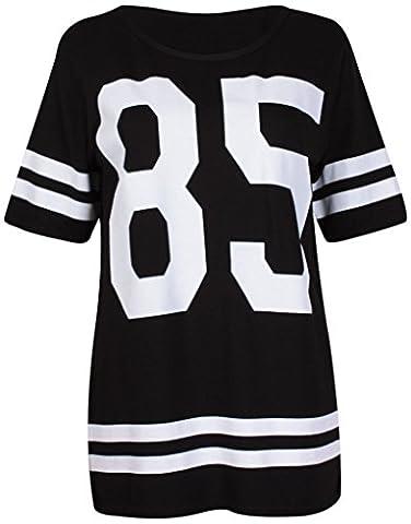 Purple Hanger - T-Shirt Femme Varsity Baseball Motif 85 Université Américaine Extensible Col Rond Rayé Manche Courte Long - Noir, FR 36-38