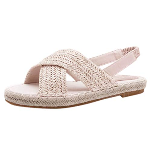 Frauen Sandalen für Frauen liusdh,Damen schuheWomens Fashion Flats Straw Hemp Rope Elastic Band Casual Shoes Roman Sandals(WH,42) -