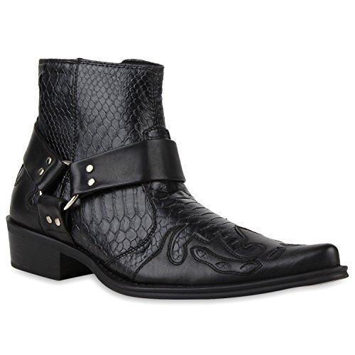 Stiefelparadies Herren Cowboy Boots Modische Stiefeletten Kroko-Print Leder-Optik Echtleder Innenmaterial Spitz Schuhe 116883 Schwarz Kroko 44 | Flandell® (Schwarze Leder-cowboy-stiefel)