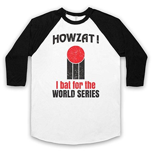Howzat I Bat For The World Series As Worn By Dennis Lillee 3/4 Hulse Retro Baseball T-Shirt Weis & Schwarz