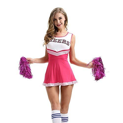 MCO%SISTSR Cheerleader-Kostüm,Große Größe Mädchen Team Uniform Fußball Kleid Metall Samt Ball Sport Wettbewerb Kleidung Xs-XXL,Rosa,M