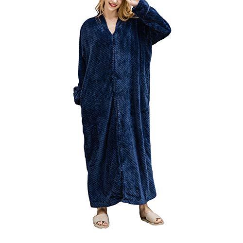 DISCOUNTL Flanell-Bademantel für Damen und Herren, aus Coral-Fleece, Dickes und extralanges Nachthemd, Paar-Pyjama für Damen Gr. Large, Navy