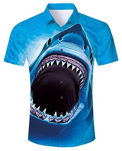 Funnycokid Teen Boys Hawaiian Shirts Drucken Kurzarm Hawaiian Beach Wear Männer Casual Blauer Hai Shirt