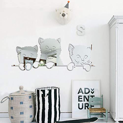 wandaufkleber kinderzimmer spiegel Nette Katze Muster Spiegel Kinderzimmer 3d Miroir Kunst Hintergrund Dekoration Kitty Wohnkultur Aufkleber -
