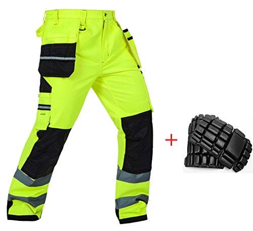 Arbeitshose mit Kniepolster Warnschutzhose mit Reflektionsstreifen neon gelb 46% Baumwolle Herren (L)