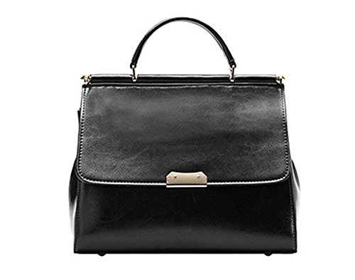 Xinmaoyuan Sacs à main pour femme Sacs à main en cuir sac à main Fashion Kraft Cire Huile Mesdames épaule Messenger sac carré petit Black