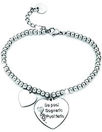 493d38e1cae5 Beloved ❤ Bracelet en acier pour femme portant l inscription en italien   français non garanti  de phrases, pensées et mots,…