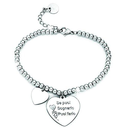 Beloved ❤️ braccialetto da donna, bracciale in acciaio emozionale - frasi, pensieri, parole con charms - ciondolo pendente - misura regolabile - incisione - argento m18