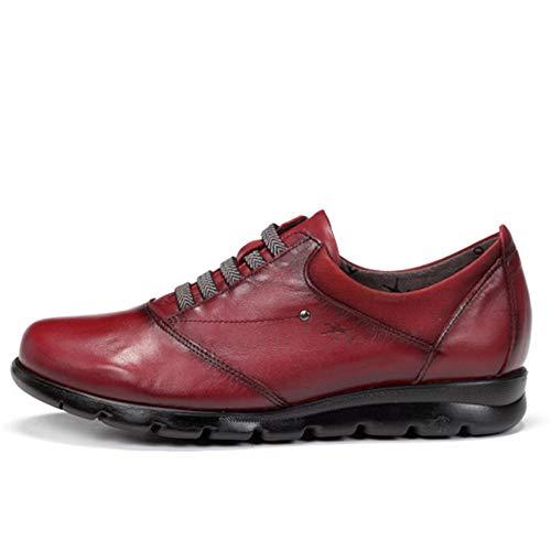 Zapato Abotinado Mujer Dorking-Fluchos - Piel Color oicota, Cierre Cordones Elasticos, Plantilla Extraible...