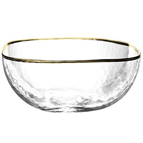 WSY Salatschüsseln Rührschüssel Geschirr Suppenschüsseln Salat Im japanischen Stil Hammer Pattern Gold Trim Glass Square Bowl Transparent Mehrere Größen (Color : TRANSPARENT, Size : 11) Gold Trim Dessert