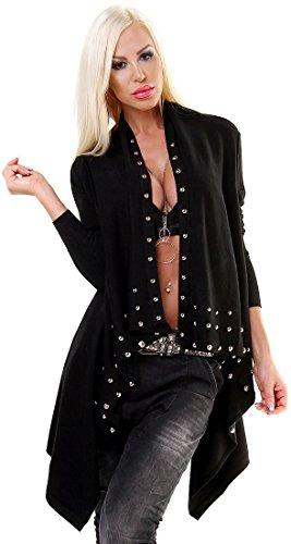 Exklusive Damen Strickjacke Waterfall Pearl - Größe 38 - Cardigan im Zipfel-Look