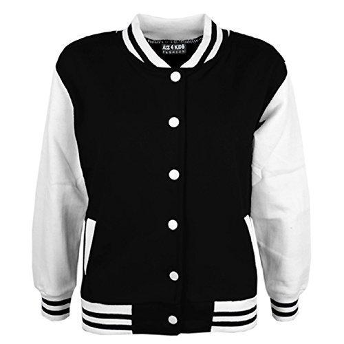 A2Z 4 Kids® Kinder Mädchen Jungen BASEBALL JACKE VARSITY Stil Mode Einfach SCHULE JACKEN TOP Alter 5-13 Jahre (Mädchen Für Varsity-jacke)