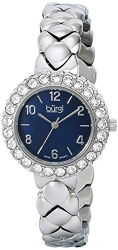 burgi-womens-bur113ssb-crystal-accented-silver-swiss-quartz-watch-with-black-mother-of-pearl-dial-an