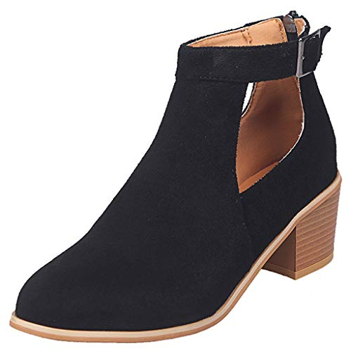 Sandalen Damen mit Absatz Blockabsatz Stiefeletten Wildleder Geschlossene Schuhe Reissverschluss Stiefel Sommerschuhe mit Druckknöpfeverschluss (EU:39, Schwarz) -