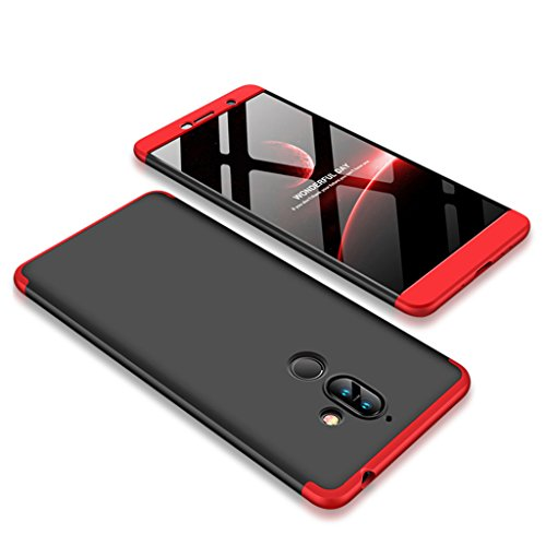 Nokia 7 Plus Hülle, Ultra Dünn 3 in 1 Abnehmbare Anti-Kratzer Hart PC Handyhülle, 360° Full Body Stoßfest Schutzhülle für Nokia 7 Plus (Schwarz,Rot)