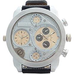 Banger Dualtime Silver plata Line Cronógrafo for MEN Double Temps Dos Zonas Navegador Reloj de hombre XL Atlas Modelo con 2redes de reloj Mundo tiempo Reloj Negro Plata con pulsera de piel Contraste costuras