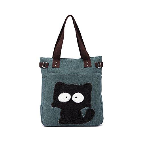 Vintage Reisetasche Handtaschen Schultertasche KAUKKO Shopper Taschen Umhängetasche Damen Handbag Army Green -