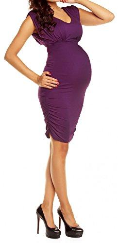 Happy Mama Femme maternité robe de grossesse près du corps sans manches 525p Pourpre