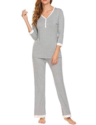 Unibelle Damen Stillpyjama-Umstandspyjama-Schlafanzug Zweiteilig Hausanzug Pyjamas 3/4 Ärmel V-Ausschnitt mit Knöpfeleiste Sleepwear Grau