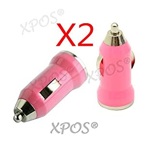PACK DE 2 Nokia N95 8GB : CHARGEUR VOITURE ADAPTATEUR ALLUME CIGARE USB ROSE POUR Nokia N95 8GB XPOS®