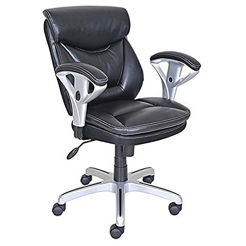 True Innovations Bonded Leder Student Stuhl in schwarz mit höhenverstellbar gepolsterte Armlehnen und pneumatischen Lift (Leder Oxford Cap)