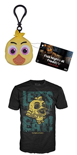 Funko FNAF: Chica Plush Keychain + Chica Unisex Size X-Small T-Shirt Set NEW