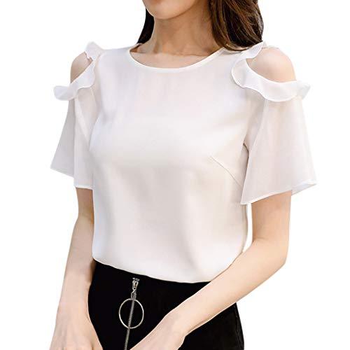 8d78d4f7524660 Deloito Damen Freizeit Arbeitsplatz Tunika Tops Schulterfrei Rüschen  Kurzarm T-Shirt Bluse Volltonfarbe Chiffon Hemden Oberteile (Weiß,X-Large)