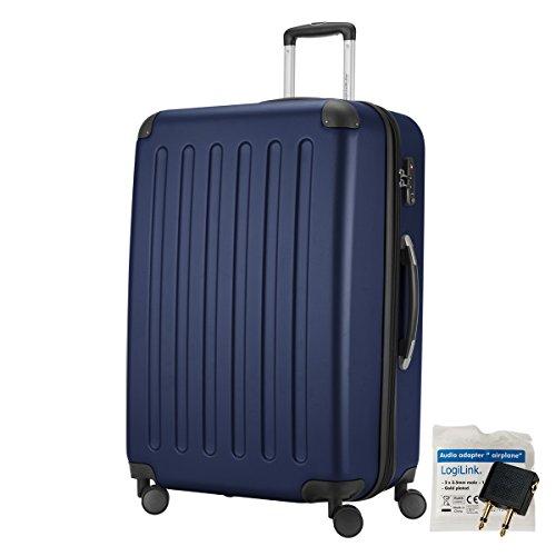HAUPTSTADTKOFFER 128 Liter XL Reisekoffer · SPREE · TSA · MATT · NEU 4 Doppel-Rollen · (in 12 Farben) + LogiLink Flugzeug Audio Adapter (Dunkelblau)