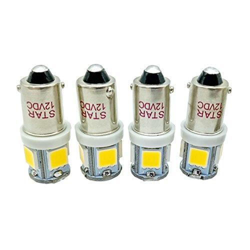 Preisvergleich Produktbild 12V Weiß BA9S 5050 5-SMD 1895 6253 64111 363 Auto Innenraum Boot Tür Karte Glühbirne,  4 Stück (12V-WW)
