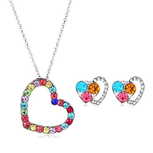 Conjunto de joyería de circón de las mujeres de moda Collar de aleación de la forma del corazón y arete del pendiente