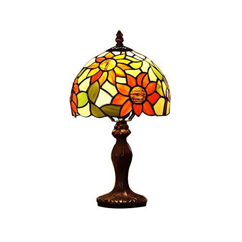 CCSUN Led Tiffany stil Nachttischlampe,Sun flower Seite tischlampen für schlafzimmer Wohnzimmer Studie] 15' h-A Dimmschalter -
