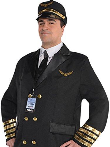 Preisvergleich Produktbild erdbeerloft - Herren Piloten Komplett Kostüm Karneval , Schwarz, Größe XL