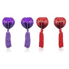 Idea Regalo - Copricapezzoli in silicone, Domowin Donna Cuore scintillante Riutilizzabile Nipple Cover Una coppia di Pasties A forma di cuore 2 Coppia (Violett&Rosso)