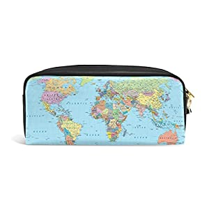 zzkko educativo mapa del mundo funda de piel cremallera lápiz pluma estacionaria bolso de la bolsa de cosméticos bolsa bolso de mano