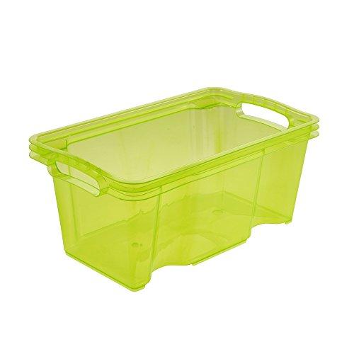 keeeper Aufbewahrungsbox mit integrierten Griffen, Größe: S, 35 x 21 x 15 cm, 6,5 l, Franz, Grün Transparent