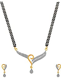 Quail American Diamond Gold Plated Mangalsutra Set for Women / Mangalsutra for Women Latest Design