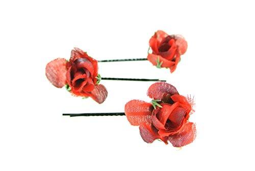 clarigo Haarnadel Haarband Haarklemme Teerose rot Hochzeit Kommunion Blumen Blumenmädchen