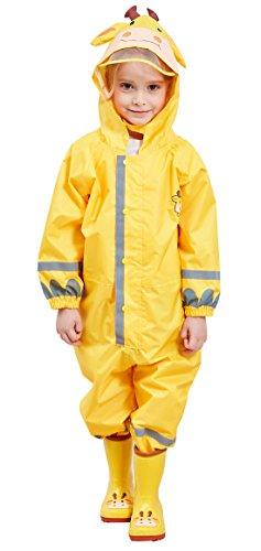 DAWNTUNG Kids Children Raincoat Cartoon Rainsuit Boy Girl Hoodie Rain Poncho Waterproof Jumpsuit