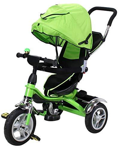 Miweba Kinderdreirad Schieber 7 in 1 Kinderwagen - Sonnendach - Multifunktional - Luftreifen - Einkaufstasche (Grün)