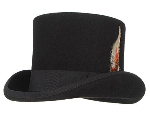 GEMVIE Zylinderhut Wollfilzhut mit Feder Topper Hut für Zauberer, Karneval, Fasching, Steampunk, Gentleman Kopfumfang 54-56cm