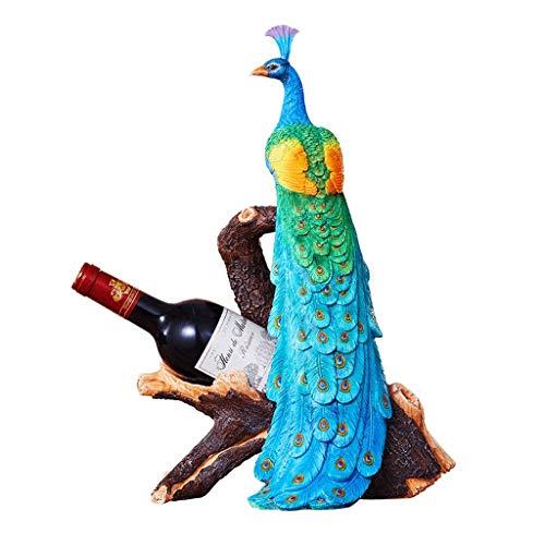 Wohnaccessoires & Deko Pfau Weinregal Dekoration Handwerk Wohnzimmer Veranda Weinschrank Dekoration Desktop Skulptur Schmuck Einweihungsparty New Home Geschenk (Color : Blue, Size : 28.5 * 22 * 43cm)