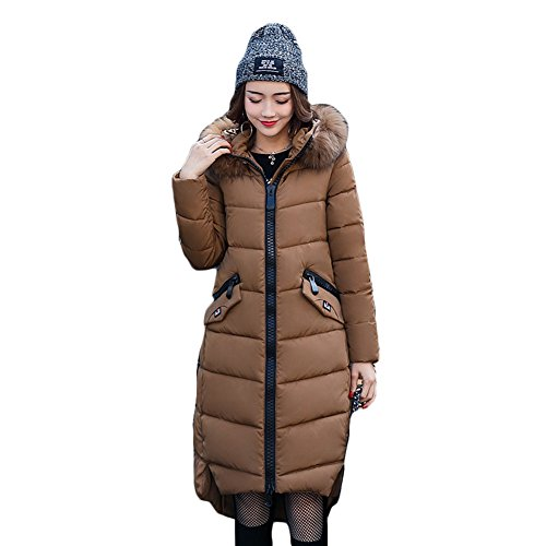 Femme Manteau Hiver Jacket Parka - Manches Longues Manteaux Rembourrée Veste à Capuche Zip Long Chaud Doudoune Coat Blousons Hoodie Highdas Café